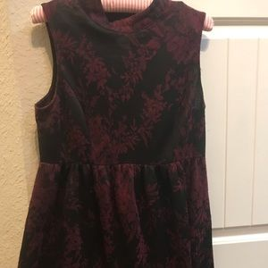 Maroon and black high neck dress